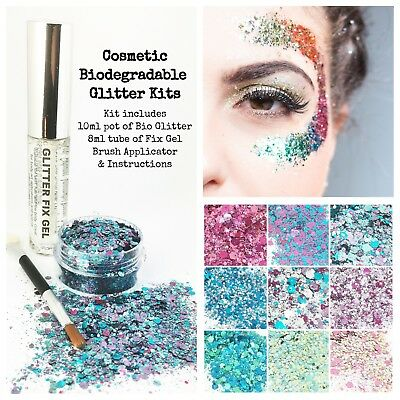 Biodegradable Cosmetic Eco Glitter mix, Festival Kit, Party, make up, + Fix Gel