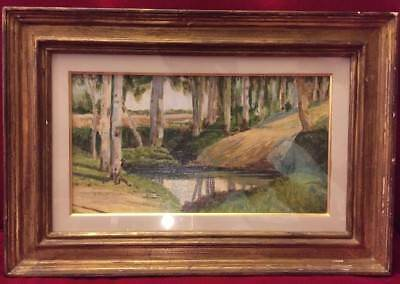 Beautiful Vintage Oil on Canvas Woodland  Scene in Gilt Tiered Frame, Glazed