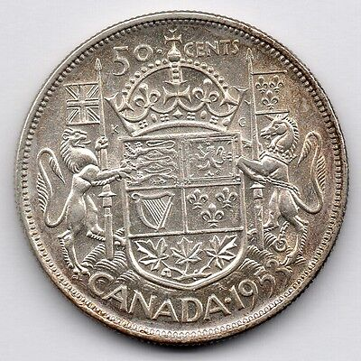 Canada 50 Cent 1953 - Large Date (Half Dollar) (80.0% Silver) Coin