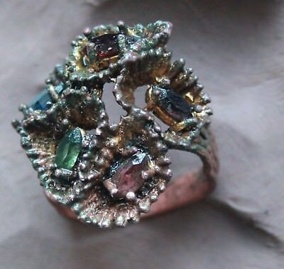 L6  Ancient Medieval Bronze Ring With 6x Color Rock Cristal  Beads Gold Plate RR