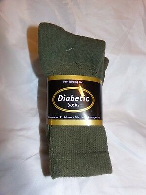 3 Pair Men's 10-13 Casual Olive Green Diabetic Crew Socks ****100% USA Made****