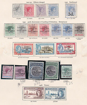 British Commonwealth Bahamas 1937-49 George VI issues. THREE PAGES. Used.