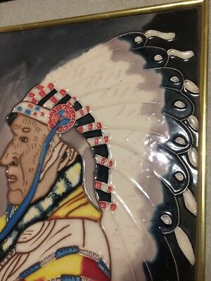 large chief native American Indian ceramic tile a lot of color good detail