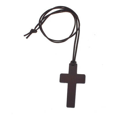 Gift Religious Leather Brown Ancient Christian Cross Jewelry Pendant Necklace