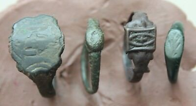 L6 Lot of 4x  Ancient Roman & Medieval Bronze Rings 11g Size D=16-21mm