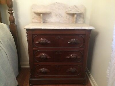 Antique Victorian Marble Top 3 Drawer Chest