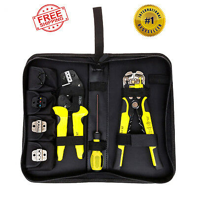Cable Connectors Terminal Insulated Ratchet Crimping Wire Crimper Plier Tool Kit