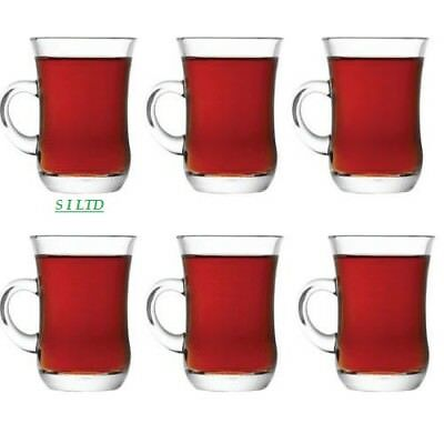 Set of 6 Turkish Cups with Holder Handles 140ml | Hot Glass Tea & Coffee