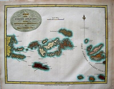 Antique Map: The Virgin Islands: West Indies: Hand Colored: London, 1794: 9 X 7