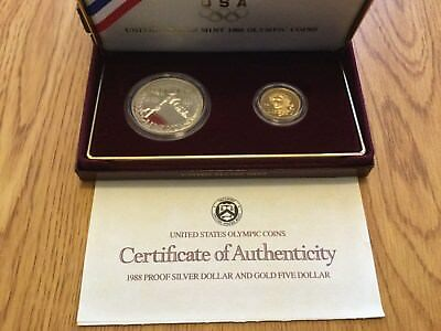 1988 Olympic Proof 2 Coin Gold/Silver Set in Original Box with COA *Never Opened