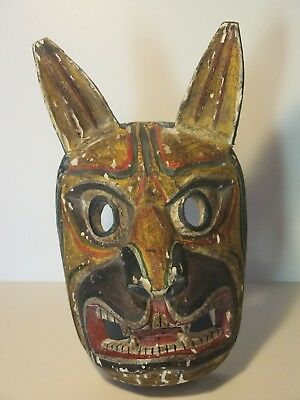 Vintage Hand-Carved & Painted Wooden Wolf Mask - Ecuador