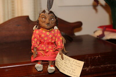 """Vintage 7"""" Wood Carved Native American Doll Named We Nu Na, Sioux From Minnesota"""