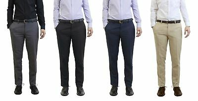 Mens Belted Slim Fit Dress Pants Flat Front