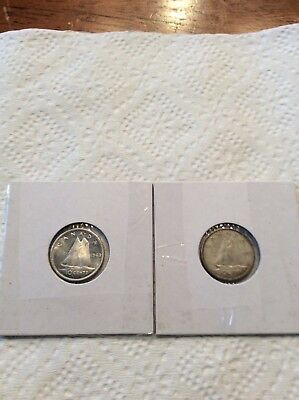 Canadian silver dimes 1959,1963