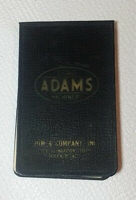 ADAMS ROAD MACHINERY leather notepad vintage BUFFALO NY graders scrapers plows
