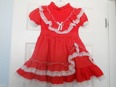 VINTAGE LITTLE LUCY RED with WHITE DOT RUFFLES DRESS sz 7