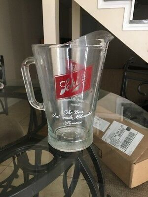 """Large Vintage Schlitz Beer Glass Pitcher """"The Beer That Made Milwaukee Famous"""""""