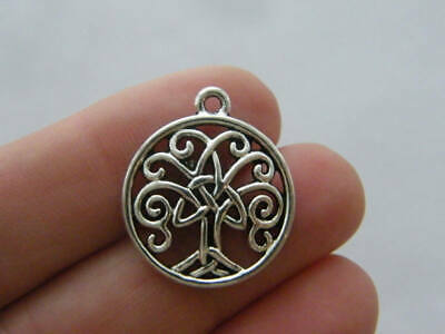 2 Celtic flower knot charms antique silver tone R106
