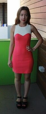 FOREVER NEW coral pink party dress with back cut outs & sweetheart detail size 6