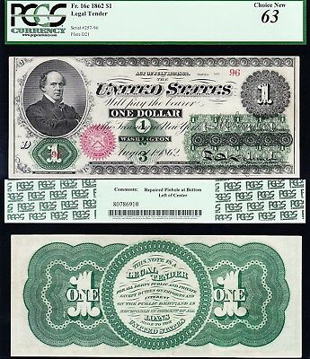 Amazing *RARE* CHOICE UNC (LOW Serial No 96) 1862 $1 GREENBACK US Note! PCGS 63!