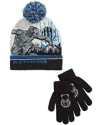 Marvel Black Panther Boys Winter Beanie Hat Gloves SET Youth Kids Avengers Gift