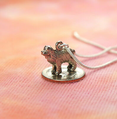 "Spaniel Dog Necklace, USA Pewter, Canine Gun Dog Breed, pick 16-36"" silver chain"