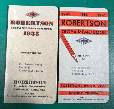2 Robertson's Crop & Memo Books 1935 & 1941 Stoneville NC