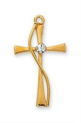 "Gold over Sterling Silver Cross with Stone (1"") on 18"" Gold plated chain (J8012)"