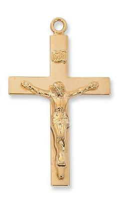 "Gold over Sterling Silver Lord's Prayer Crucifix (1 11/16"") on 24"" Gold plated c"