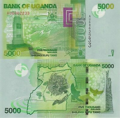 Uganda 5000 Shillings (2013) - Monument/Birds/p51c UNC