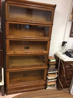 Antique Oak Macey Lawyer Barrister 5 Stack Stepback Bookcase 2