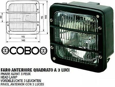 0511500001 Headlight Square With Frame Black 3 Lights For Tractors