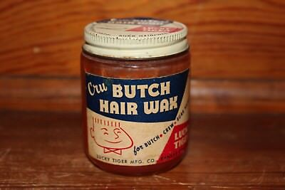 Vintage 3.5oz Lucky Tiger Cru Butch Hair Wax Jar with Contents