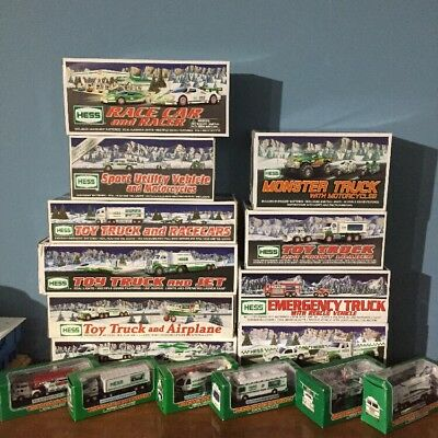 Hess Truck Collection 16 Piece Lot-All New in boxes 2002 - 2011 Plus Miniatures!