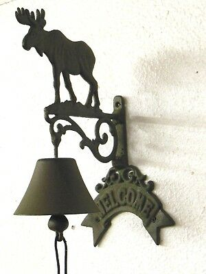 "large solid Cast Iron WELCOME Moose DOOR BELL - overall 14"" tall - NEW"