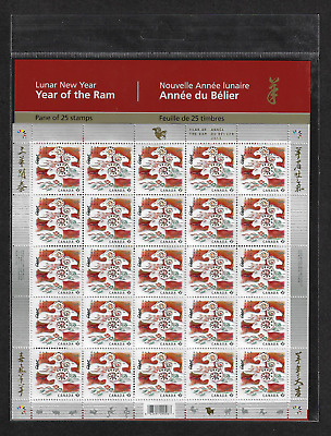 Canada - Full Pane of 25 - 2015, Chinese / Lunar New Year of the Ram #2801 - MNH