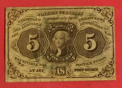 "1862 US Fractional Currency ""FIVE CENTS"" VG! First Year Issue! Old US Currency"