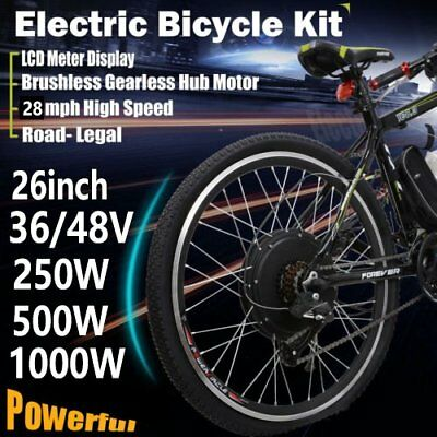 "26"" 250W 1000W Electric Bicycle Conversion E-Bike Front Rear Wheel Kit 36V 48V ."