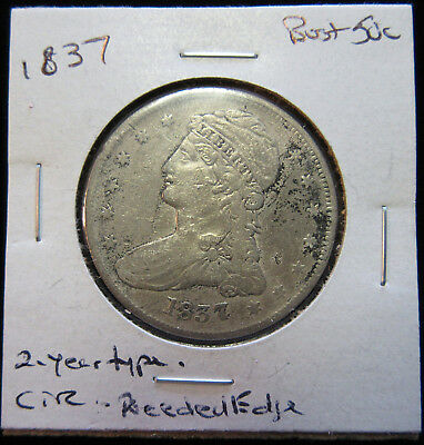 1837 50c Bust Half Dollar. Circulated. Two-Year only type. No Reserve! (318093)
