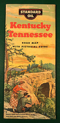 1953 Standard Oil Kentucky Tennessee Road Map Oil Gas Service Station