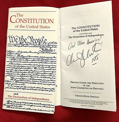 Signed NJ Governor 2016 GOP President Candidate Chris Christie US Constitution