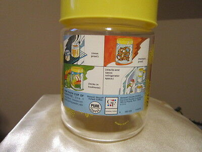 Vintage Mid-Century Maxwell House  Glass Coffee Canister w/lid- Yellow Daisys