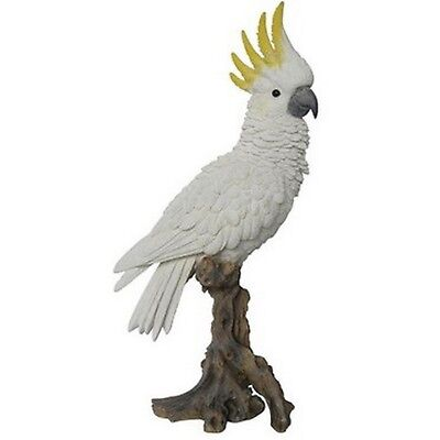 "Cockatoo Realistic Life Like Cockatoo On A Branch 15"" Statue Home Garden Decor"