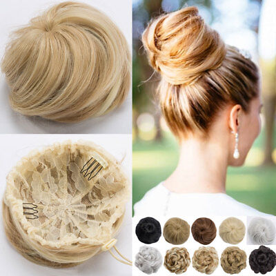 Real Natural as human Clip on/in Messy Hair Bun Extension Chignon Hair Piece US