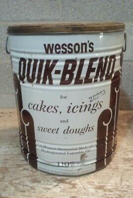 "Large Vintage 110LB Covered Advertising Tin Can, Wesson's Quik-Blend Sz 20""x16"""