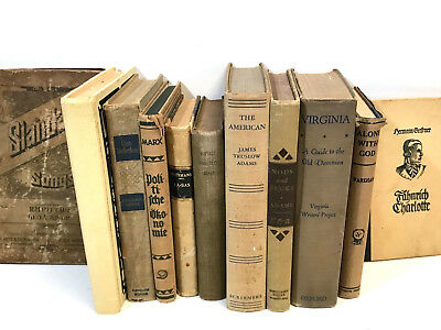 5 WHITE/CREAM/BEIGE old/vintage/antique Authentic Decorative Staging Books Lot