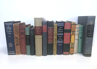 5 MIXED COLORS old/vintage/antique Authentic Decorative Staging Books