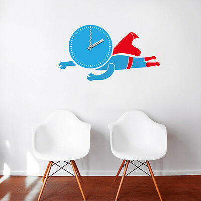 New Unique DIY Stick on the Wall Clock In Cool Flying Superman for Any Rooms