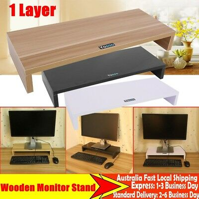 1 Layer Wooden Monitor Stand LED LCD Computer Riser Desktop Display Holder