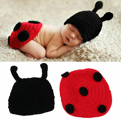 Newborn Baby Crochet Knit Photo Photography Prop Costume Hat Beanies Outfit BS